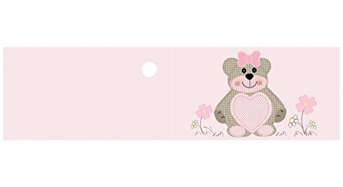 Subito disponibile 100 pz bigliettini bigliettino bomboniera nascita bambina orsetto rosa