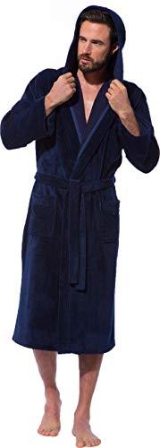 Morgenstern Bademantel mit Kapuze für Herren in Blau Hausmantel Morgenmantel Männer Baumwolle Microfaser Viskose leicht Größe XL