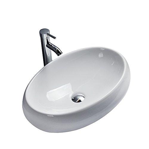 Gimify Lavabos Sobre Encimera Cerámica sin Desbordamiento para el Baño