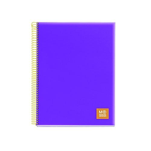 miquelrius-2766-5-farben-a5-notizbuch-125-blatt-kariert-80-gramm-polypropylen-lila