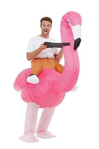 Smiffys 50962 Aufblasbares Ride Em Flamingo Kostüm, unisex, Erwachsene, Rosa, Einheitsgröße