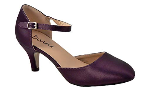 Mary Jane Damen Pumps aus Satin, mittelhoher Absatz, Violett - Purple Satin - Größe: 36 EU - Purple Schuhe Mary Jane