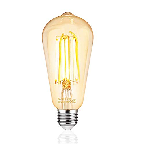 Kawosh Edison Bombilla Vintage lámpara Retro Regulable Bombilla Blanco cálido E27 6W iluminación 530 lúmenes Bombilla para el hogar Cafe Bar