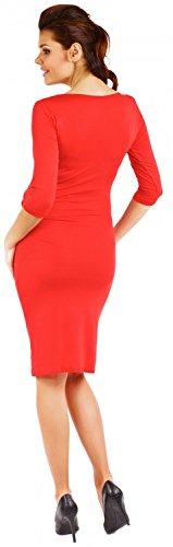 Zeta Ville - Maternité robe grossesse manches 3/4 près du corps - femme - 939c Rouge