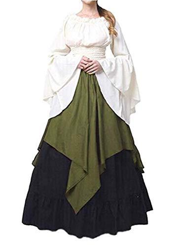 IWFREE Damen Vintage Retro Mittelalter Langarm Kleid Renaissance Viktorianisch Cosplay Kostüm...