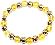 REBUY Natural Citrine Pyrite Healing Crystal Stone Bracelets 8mm for attracting Abundance and Fortune for Men