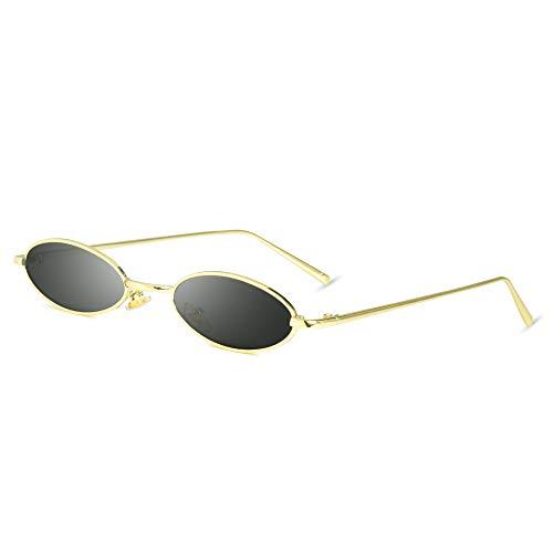 AMZTM Vintage Ovale Sonnenbrille - Retro Mode kleine Metallrahmen Sonnenbrille für Mädchen Damen Süßigkeitsfarbe UV400 Schutz HD Vision Damenmode (Goldener Rahmen, graue Linse)