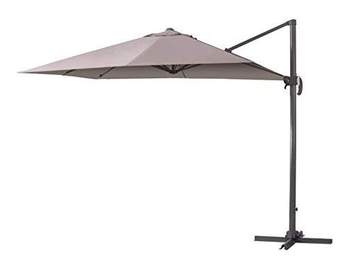 Verdelook ombrellone a braccio deluxe reclinabile con struttura in alluminio color tortora. misura 3x3m