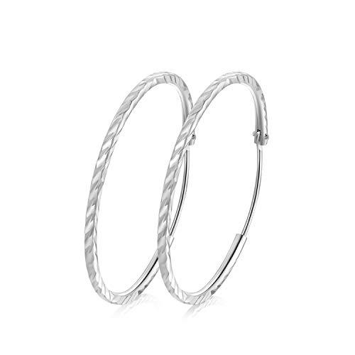 T400 Jewelers 925 Sterling Silber Diamond Cut Schläfer Creolen Ohrringe Set Valentinstag Geschenk,Durchmesser: 25-65mm