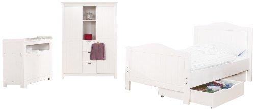 Pinolino Jugendzimmer Nina breit groß, 3-teilig, Jugendbett (200 x 90 cm), breite Kommode und großer Kleiderschrank, Fichte massiv, weiß lasiert (Art.-Nr. 10 16 17 JBG)