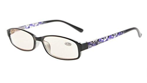 EyekepperLos lectores de computadora con la función de la luz azul anti, el resorte cristalino con bisagras y el iPad/la tableta y los eyeglasses magnificados de la electrónica para la mujer con la lente teñida ámbar (Patrón púrpura, +0.00)