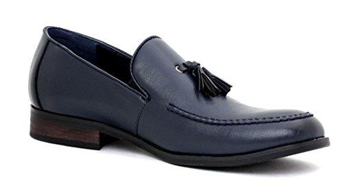 Hommes Élégant À Enfiler Gland Designer Mocassin Mode Décontractée Chaussures Bleu Marine