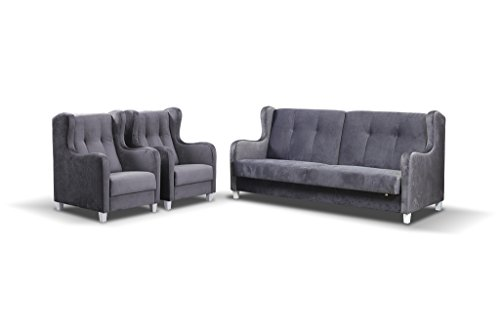Polstergarnitur Sofa Set 3er & 1er Wohnlandschaft 3-Sitzer und zwei Sessel Möbel Set HENRY (Grau)