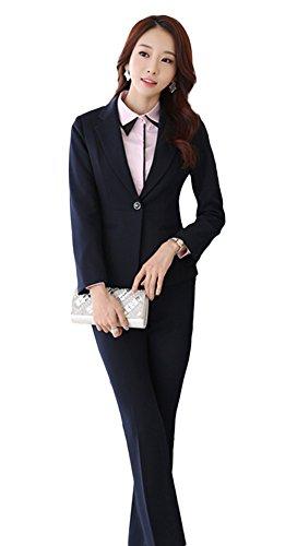 Icegrey Femmes Blazer Tailleurs Pantalons De Bureau Revers Bouton Costume Manteau Costume Deux Pièces Bleu Royal