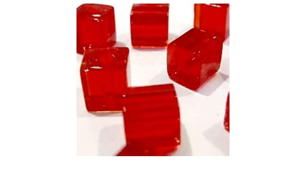 kubisch 50/St/ück k2-accessories quadratische Glasperlen A3052 Kristall-Glasperlen hellrot 6/mm