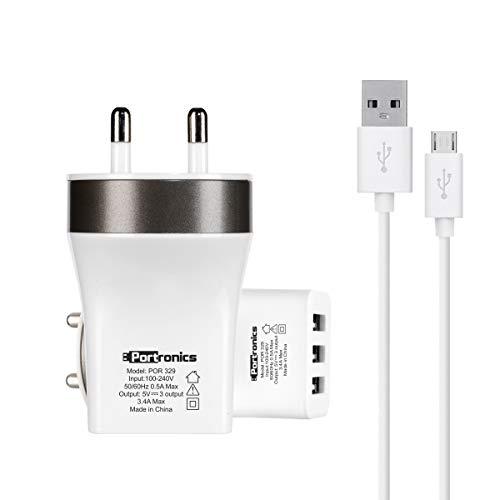 Portronics POR-329 3 Port USB Charger (White)