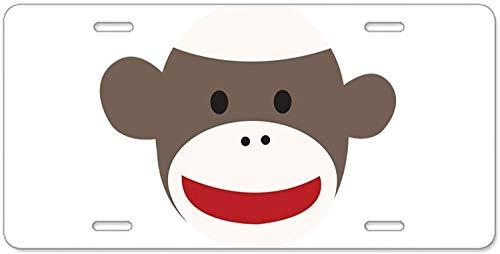 Fhdang Decor Sock Monkey Face Aluminium Nummernschild, Aluminium-Nummernschild, Front-Kennzeichen, Schminkschild, Schminkschild, 4 Löcher, Autozubehör, 15,2 x 30,5 cm (Cp-749)