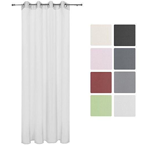 Beautissu Transparenter Ösen-Vorhang Amelie - 140x245 cm Weiß Uni - Voile Dekoschal Gardine Ösenschal Fenster-Schal