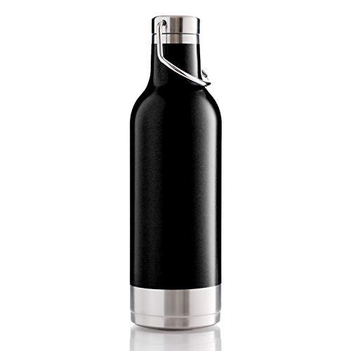 BOHORIA® Premium Isolierte Edelstahl Trink-Flasche 500ml - Thermo-Flasche - Wasserflasche - Doppelwandig & Vakuumisoliert - Flasche für Arbeit, Schule, Universität, Sport, Reisen (Handle Black)