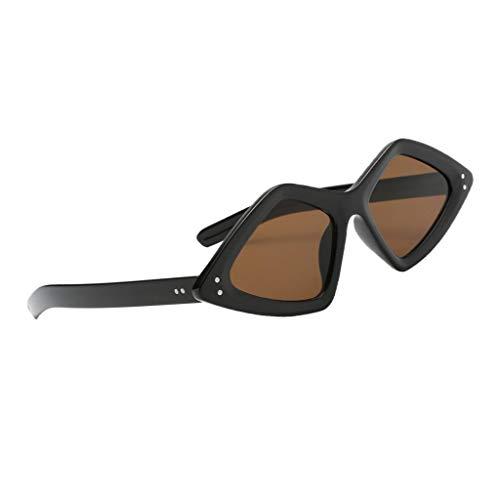 sharprepublic Frauen Retro Polygon Sonnenbrille Männer Übergroße Verspiegelte Brillen UV400 - Beige - Braun