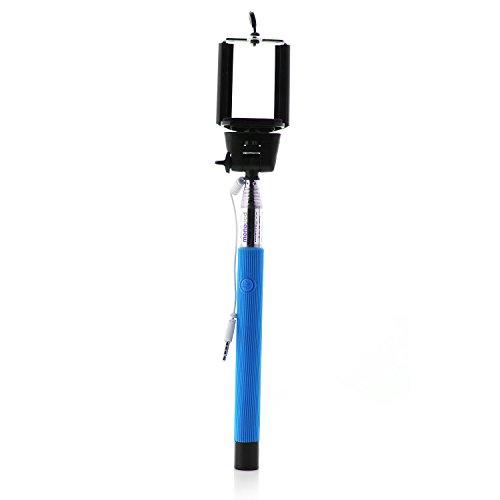 Mobility Lab ML303307 Perche Selfie télescopique Filaire BLUE/ Connection Jack 3,5/ 100% Nomade/ Compatible avec la plupart de Smartphones