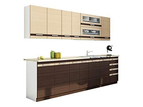 Mirjan24 Küche Lungo/Macchiato bis 260 cm mit Arbeitsplatte, Küchenblock/Küchenzeile, 8 Schrank-Module frei kombinierbar (Weiß/Milch Eiche + Wenge/Petra Beige)