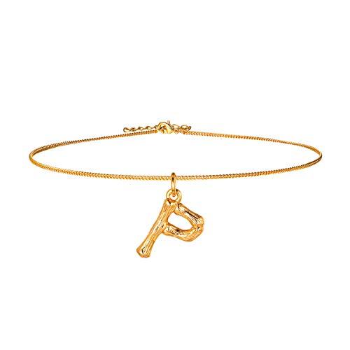 FOCALOOK Damen Mädchen Choker Anhänger Halskette Gelbgold überzogend Initiale Schmuck Bambus Stil kleine Buchstabe P Charms Collier 40cm Gold Women Necklace -