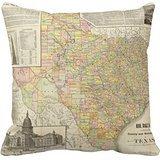 """Condado de gran escala y de ferrocarril mapa de Texas manta funda de almohada 18""""18"""""""