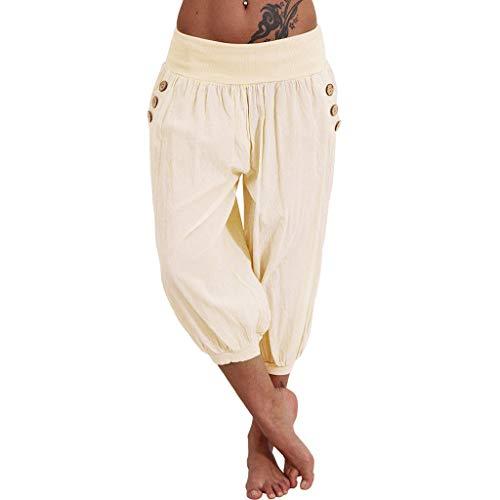 WOZOW Damen Haremshose Trousers Capri Solid Low Waist Lose Loose Casual Bequem Yoga Übergröße Plus Size SweatTrousers Straight Leg Crop Freizeithose (XL,Beige) -