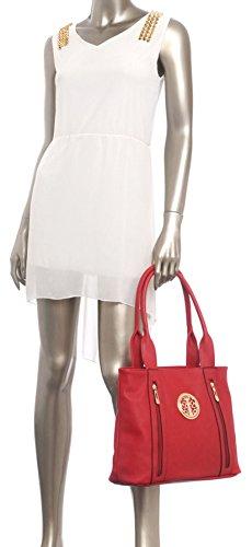 Big Handbag Shop da donna in ecopelle 2tasca frontale con cerniera Maniglia Superiore Borsa a tracolla Light Beige (BH587)