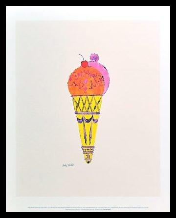 Andy Warhol Ice Cream Dessert Eis c.1959 red & pink Poster Kunstdruck Bild im Alu Rahmen schwarz 42x34cm - Germanposters (Andy Warhol Ice Cream)