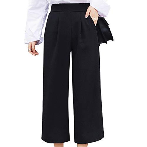 Cimenn Frauen-Hosen mit weitem Bein, Sommer-lose elastische Hosen mit hoher Taille (L) (Hoher Hose Junioren Für Taille Mit)