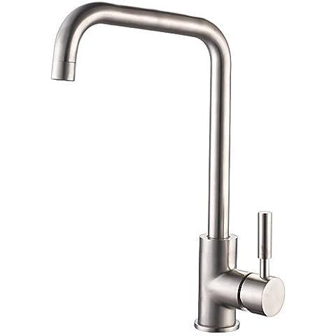 XMQC*Centerset finitura spazzolata stile contemporaneo in Acciaio Inox rubinetto di cucina