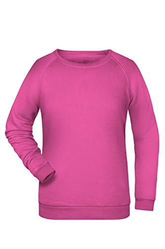 Damen Pullover Sweatshirt Raglan Ärmel Sweater Baumwolle Uni Basic in pink Größe: M