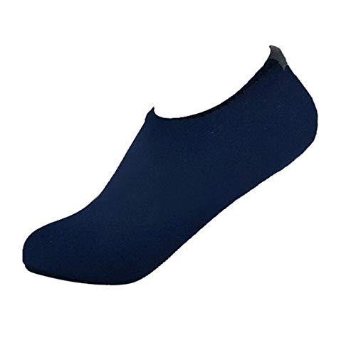 Xmiral Wasserschuhe Damen Gummisohle Einfarbig Laufschuhe Trocknend Badesandale für Pool Surfen Yoga Schwimmschuhe Wasserdicht Barfuß Schuhe Rutschfest Badelatschen(Marine Blau,34-35 EU)