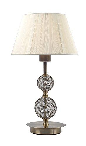 Lampara sobremesa habitación | cuero (Oro envejecido), cristal y pantalla hilo beige | Ideal para habitación o salón | Admite LED | Elegante, moderna, clásica, diseño | Excelente calidad