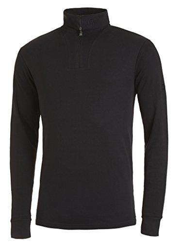 Medico Herren Ski Shirt, 48, 100% Baumwolle, schwarz, langarm, Rollkragen, Reißverschluss, 601a (Langarm-fleece-shirt)