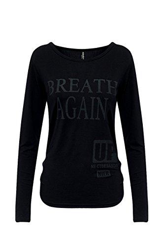 Madonna Damen Shirt Top Bluse Langarm T-Shirt Oberteil Blogger Black/Offw-Breath