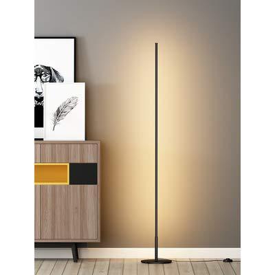 Feng tata LED de Metal Erguido Línea lámpara de pie, Habitación Sala Personalidad Ambiente Luz, Protección de los Ojos la luz del Piso de Lectura (Negro)