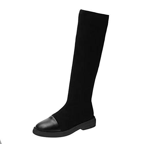 Deloito Damen Mädchen Freizeit Leder Knie Stiefel Flacher Boden Plattform Hohe Stiefeletten Runder Zeh Schlüpfen Lange Tube Boots (Schwarz,38 EU)