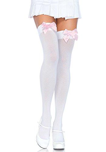 Leg Avenue Damen halterlose Strümpfe rosa mit rosa Schleifen Einheitsgröße ca. 38 bis 40 (Halterlose Farbige Strümpfe)
