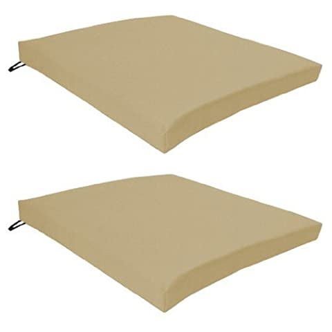 Garden Chair Seat Pad / Cushion 2 Pack in Stone, Fits Securely with Tie Strings on Back. Great for Indoors and Outdoors, Made from High Quality Water Resistant Material.