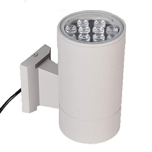 GJJ Beleuchtung-Quadrat LED-Aluminiumrohr-Wand-Licht - Wasserdichte LED-Einzelkopf-Wand-Licht Im Freien - Quadratischer Scheinwerfer,Weiß,12 - Familie Licht Im Freien Wand