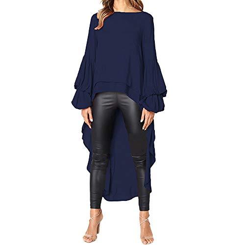 Geili Damen Mode Cool Lange Bluse Frauen Unregelmäßige Rüschen Hem Shirt Langarm Einfarbig...