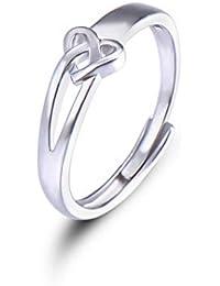 3b7589e7b5df WHCREAT Anillo de Plata De Ley 925 en Forma de Corazón para Niñas