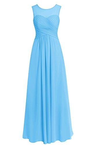 Bbonlinedress Robe de cérémonie Robe de demoiselle d'honneur en mousseline longueur ras du sol Bleu