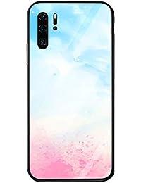 Oihxse Colorido Gradual Cristal Estilo Case Compatible con Huawei Honor 20 Lite Funda Vidrio Templado Trasera Carcasa Borde de Silicona Suave Protectora Ultra Fino Anti-arañazos