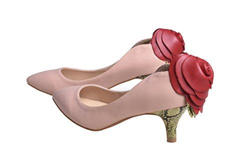 HooH Femmes Cuir Pleine Rose Peau De Serpent Pointu Trois Heel Escarpins Rose-plein cuir(talon 5cm)