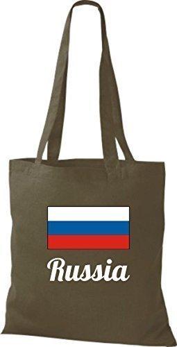 ShirtInStyle Stoffbeutel Baumwolltasche Länderjute Russia Russland Farbe Pink olive