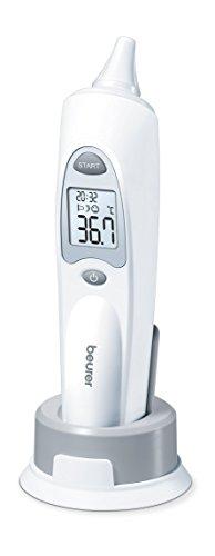Beurer FT 58 Ohrthermometer mit Schutzkappen; geeignet für Babys, Kinder und Erwachsene; mit Raum- und Objekt-Temperaturanzeige